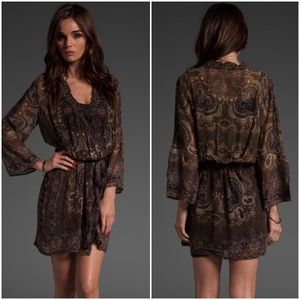 Joie Brown Border Paisley Sharika Silk Dress